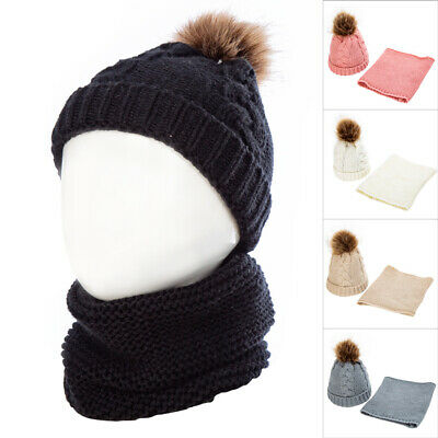 2PCS Kid Baby Winter Warm Knit Beanie Hat Boy Girls Faux Fur Pom Bobble Cap Gift