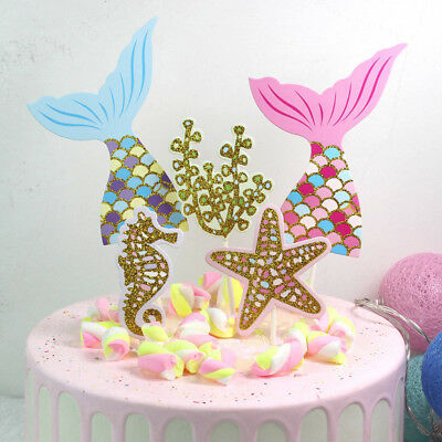 5pcs/set cute mermaid tail starfish coral seahorse cake toppers party supplie~GN