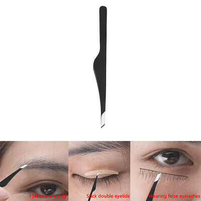 Eyelash Tweezers Steel Slant Eyebrow Tweezer Plucking Grafting False Eyelashe~GN
