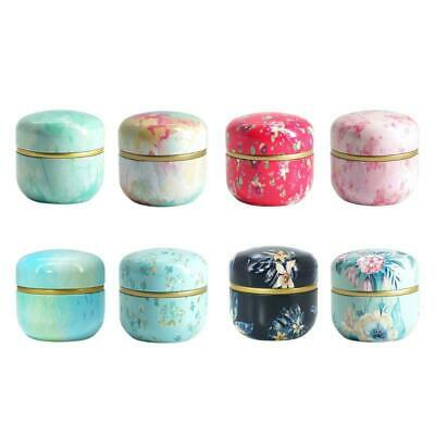 Mini Tin Loose Tea Coffee Candy Storage Box Round Metal Case Japanese Style