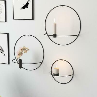 Metal Candle Holder Geometric Round Candlestick Wall Mounted Crafts Home Decor