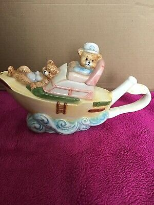 Novelty  Teddy Bear Full Steam Ahead Teapot