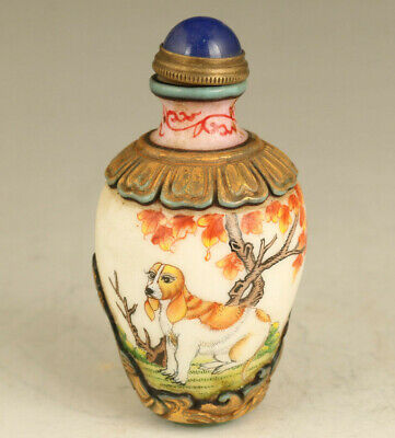 unique chinese old coloured glaze dog statue snuff bottle noble gift hand piece