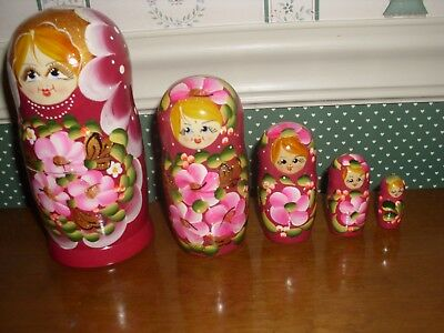 "Gabriella's Gifts-6"" Russian Nesting Dolls-6""H-5Pc Set-G-Magenta-As Shown -2018"