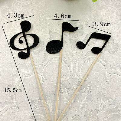 6pcs musical note cupcake toppers birthday cake topper music party decors~GN