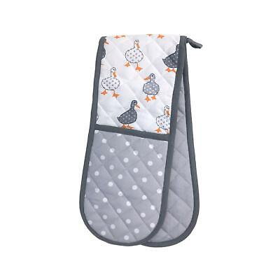 Duck Spot White Grey Double Oven Glove