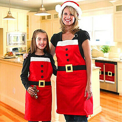 Home Cooking Aprons Adults Kids Christmas Dinner Party Santa Clause New Year~GN