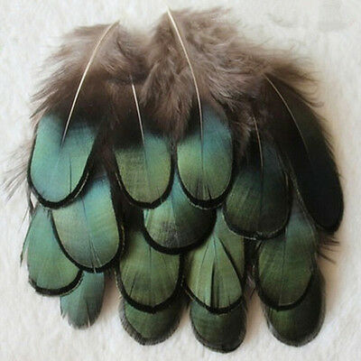 40pcs Caragana Feathers Green Natural Feathers 4-7cm Decor Making Feathers~GN
