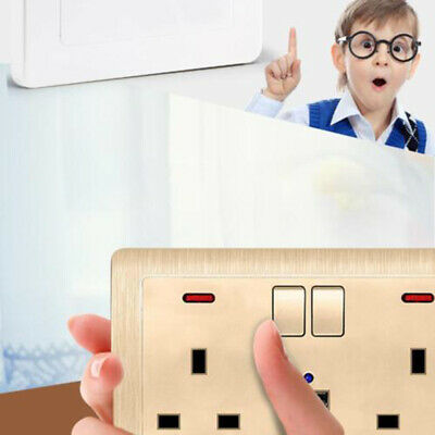Double Wall Plug Socket 2 Gang 13A w/ 2 USB Ports Screwless Slim Flat Plate New