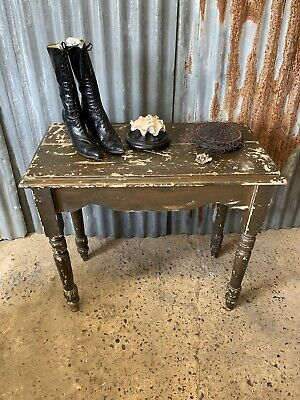 Antique Vintage Side Occasional Console Table Chippy Flakey Paint Rustic Wooden