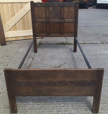 Vintage Edwardian VONO single Oak Bed With Metal Frame 74 long x 41.75 wide