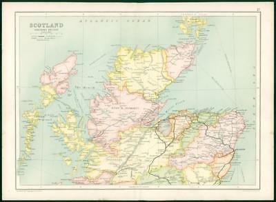 1912 Original Colour Antique Map  BRITISH ISLES SCOTLAND NORTHERN SECTION   (20)