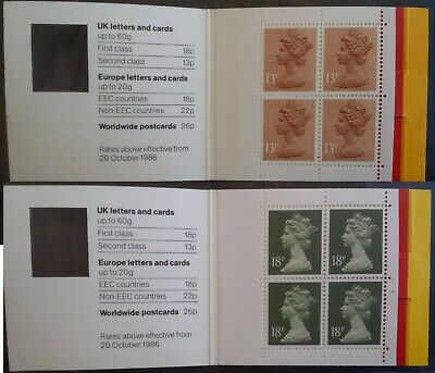 GB 1987 Window Booklets First / Second Class stamps  13p 18p