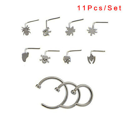 Thin Unisex Surgical Steel Nose Ring Hoop Body Cartilage Piercing Stud~GN