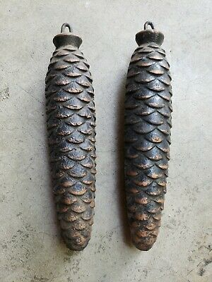 Vintage Elongated German Cuckoo Clock Pine Cone Counter Weights