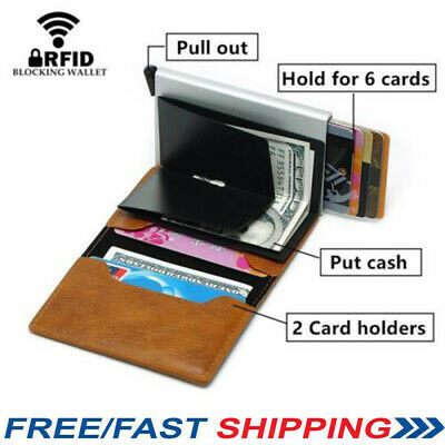 Men Antitheft Wallet RFID Blocking Pop-up Leather Card Holder Purse Gift