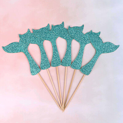 mermaid fishtail flag cake topper birthday party decorations supplies girl'fa~GN
