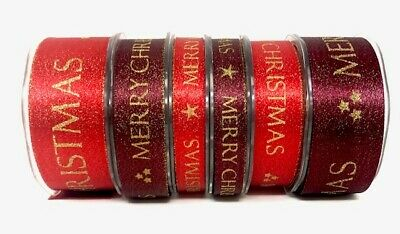 Bertie's Bows Merry Christmas Sparkle Satin - sold by the metre or 20m roll