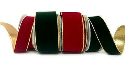 Bertie's Bows Gold Backed Wired Velvet Ribbon - sold by the metre or 10m roll