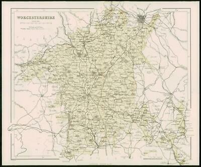 1868 - Original Colour Antique Map of WORCESTERSHIRE by W Hughes (FC22)