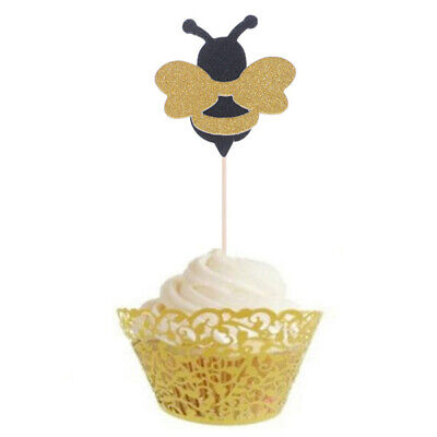 12*Honeybee Fruit Picks Shiny Bee Paper Cupcake Toppers Party Dessert Decor~GN