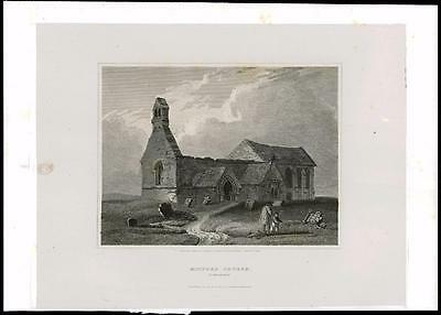 1814 NORTHUMBERLAND - MITFORD CHURCH - Morpeth Large Antique Print (24)
