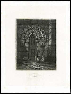 1814 NORTHUMBERLAND -SOUTH DOOR MITFORD CHURCH Morpeth Large Antique Print (23)