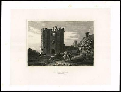 1814 NORTHUMBERLAND BOTHALL CASTLE BOTHAL i Morpeth Large Original Antique Print