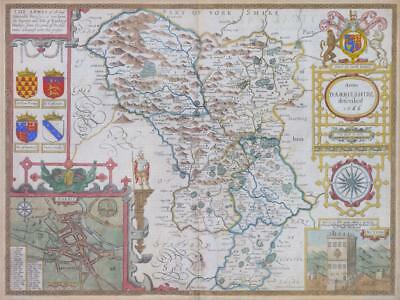 1676 Original Antique Map - DERBYSHIRE DARBYSHIRE John Speed Bassett & Chiswell
