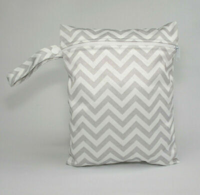 Small Wet Bag for Nappies, Breast Pads, Wipes, Cloth Pads - Zig Zags
