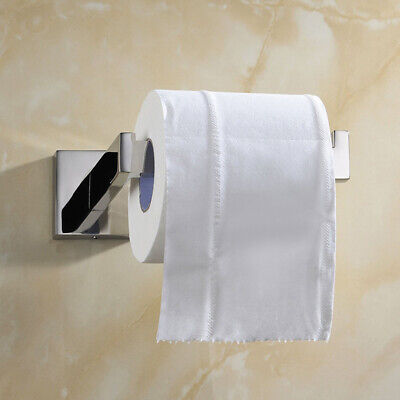Square Bathroom Tissue Paper Toilet Roll Holder Chrome Wall Mounted Towel Hanger