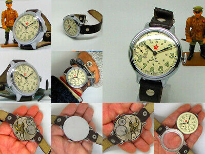 Rarest Vintage '40s Soviet Military KIROV 2MChZ Massive Mechanical WristWatch