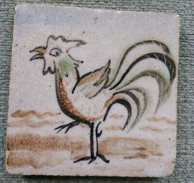 4 inch Hand-painted tile of a cockerel by the studio potter Bernard Leach