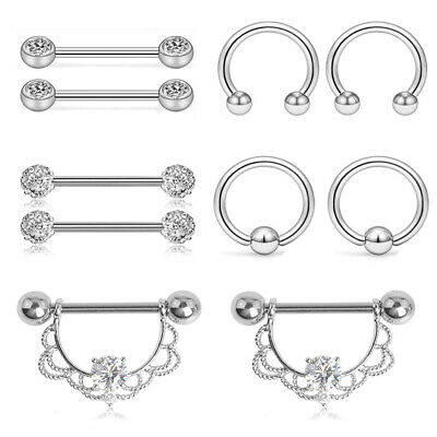 10Pcs/Set Steel Nipple Rings Bar Barbell Industrial Cartilage Piercing Jewelr~GN
