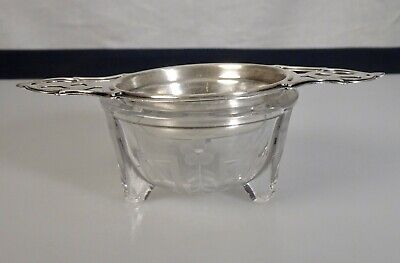 Antique Wallace Sterling Silver Tea Strainer & Etched Glass Bowl -  57136