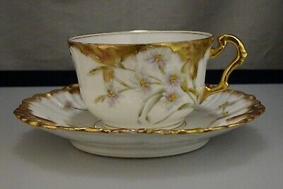 Antique Limoges Gold Decorated Cup & Saucer -   57128