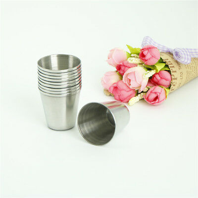 10Pcs 30ml Portable Stainless Steel Wine Drinking Shot Glasses Barware Cup~GN