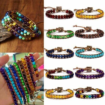 7 Chakra Natural Stone Tube Beads Bracelet Handmade Braided Yoga Bangle Jewelry