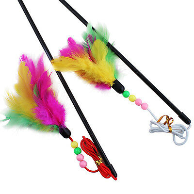 un Kitten Toy Cat colorful feather teaser wand Pet Ball Rod Toy Plastic~GN