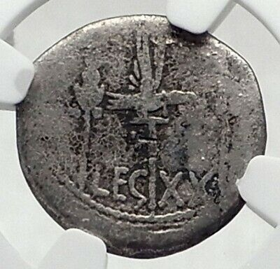 MARK ANTONY Cleopatra Lover 32BC Ancient Silver Roman Coin LEGION XX NGC i80134