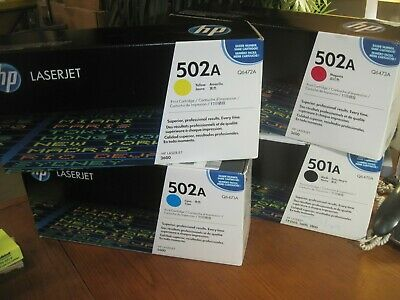 RETAIL BOXES. SET 501A 502A BRAND NEW GENUINE Q6470A Q6471A Q6472A Q6473A