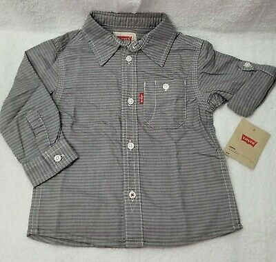 New Levi's Baby Boy's Button Down Striped  Long Sleeve Shirt, Grey. Sz 18M