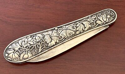 Repousse Floral ~ Antique Ornate Sterling Silver Fruit Pocket Knife Victorian