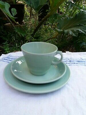 Woods Ware Beryl Tea Trio Cup Saucer Plate - UTILITY Green Vintage VGC