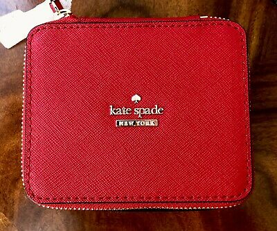 Perfect 4 Travel NWT Kate Spade Heirloom Red Leather Jewelry Box Travel Case $78