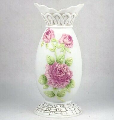 1040 -HAND PAINTED Bisque Bud Vase Pink Floral Lefton China