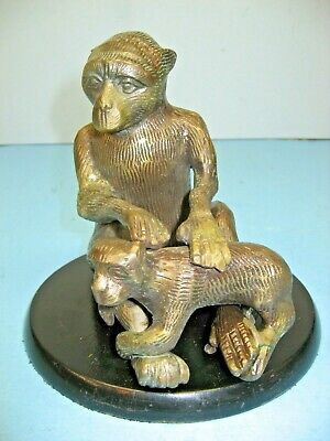 "Vintage Cast Brass Monkeys - Mother and Baby, 5-3/4"" high,  6-1/4"" Diameter Base"