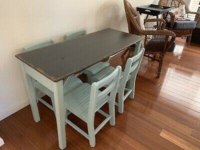 Charming Vintage School Desk with 4 Chairs
