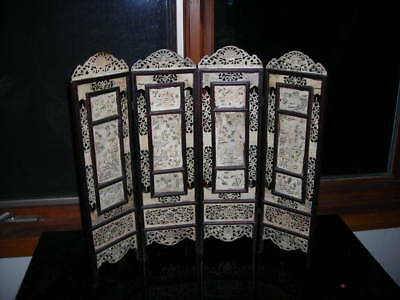 "Antique Qing Dynasty Cattle Bone Chinese Carved 4 Panel Table Screen 19"" Tall"