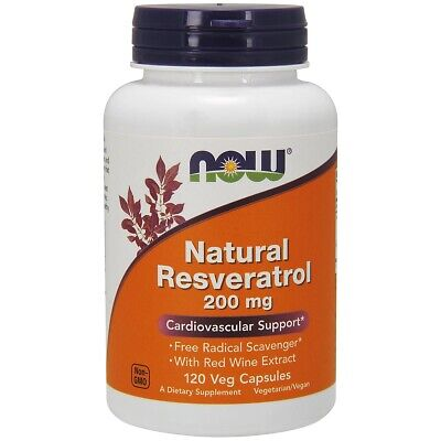 Now Foods Natural Resveratrol 200Mg 120 Vegicaps Made in USA FREE SHIPPING